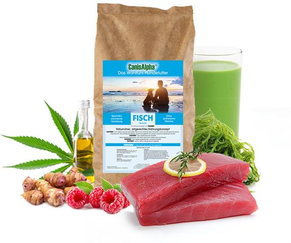 Fischfilet vom Meeresfisch, extra ausgesuchtem Gemüse, kaltgepresstem Hanföl & besten Himbeeren - FISCH SPEZIAL Hundefutter