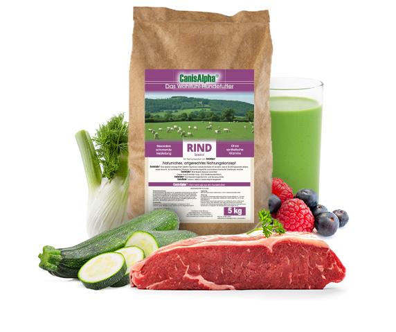 Allerbestes Weiderindfleisch, extra ausgesuchtem Gemüse, kaltgepresstem Hanföl & Beeren (Sehr Aktiv F13) - RIND SPEZIAL Hundefutter